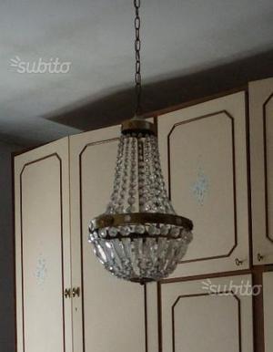 Lampadario cristallo e 2 applique anni '60