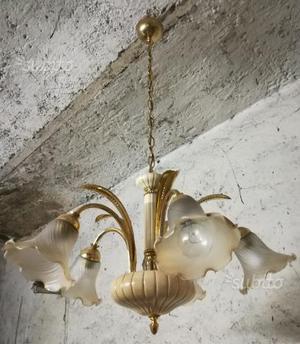Lampadario floreale 5 punti luce