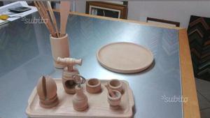 Set oggetti in legno da cucina da decorare