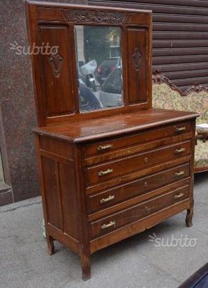 Antico cassettone specchio originale d'epoca
