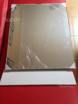 Specchiera da bagno con mensola in legno bianco