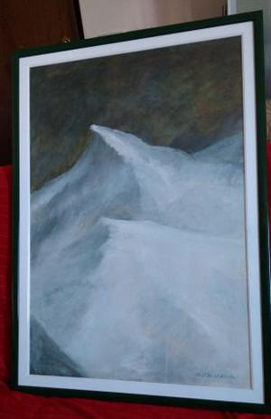 Dipinto olio su tela - Montagna innevata
