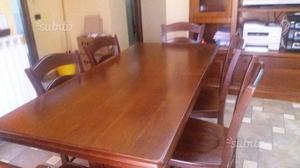 Tavolo in legno massello allungabile + 6 sedie