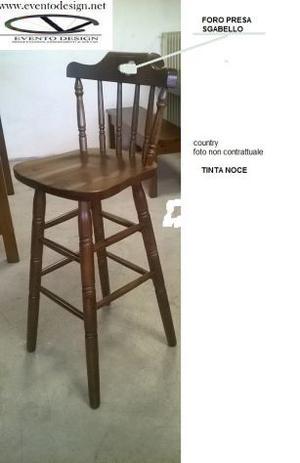 Sgabelli in legno con sedile legno, cod cuntry con schienale