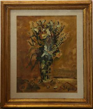 Emanuele Cappello pittore olio su tela vaso fiori