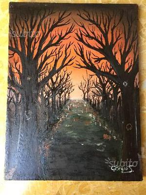 """Dipinto olio su tela """"la via del tramonto"""" firmato"""