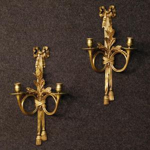 Coppia di applique francesi in bronzo dorato