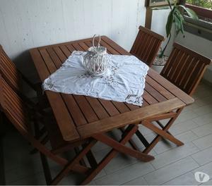 Tavolo da giardino(90x150) e sedie in legno