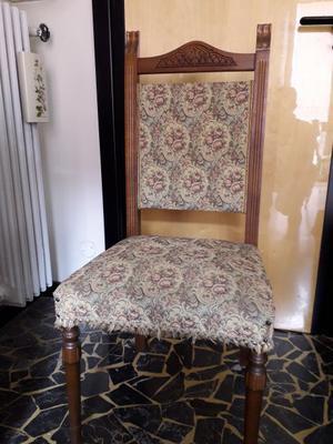 Sedie in legno e tessuto anni '50.
