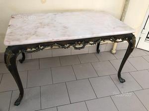 Tavolino antico in marmo e ferro battuto