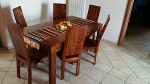Tavolo con sedie legno massiccio