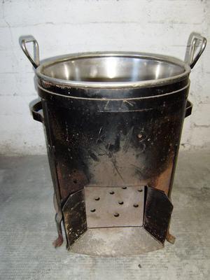Vendo fornacella a legna con paiolo in acciaio inox