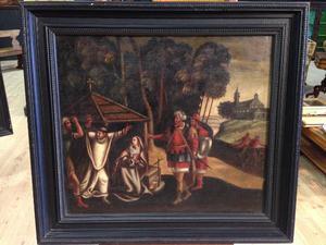 Antico dipinto fiammingo olio su tela del XVIII secolo