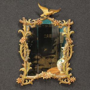 Specchiera dorata in stile Liberty italiana del XX secolo