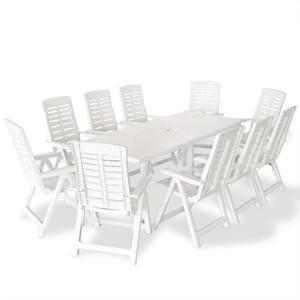 vidaXL Set da Pranzo per Esterni 11 pz 210x96x72 cm Bianco