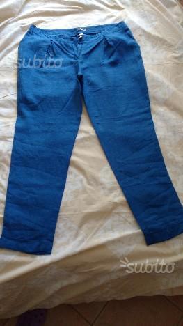 Pantaloni in lino azzurri taglia 48