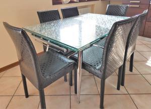 Tavolo vetro allungabile + 6 sedie eco 6/10 posti