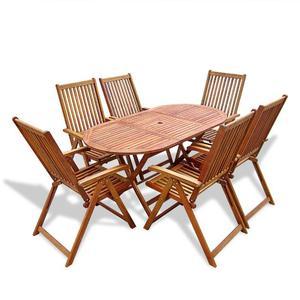 vidaXL Set da Pranzo per Giardino 7 pz Tavolo Ovale e Sedie