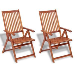 vidaXL Set 2 pz Sedia da tavola pieghevole in legno con 5