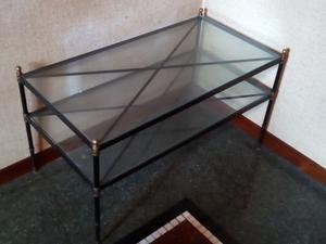 Tavolino in vetro, anni 60 in acciaio e ottone