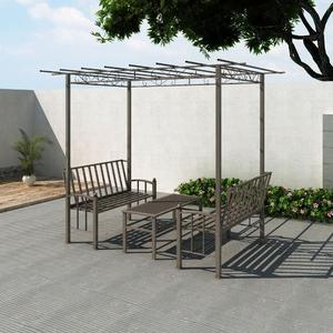 vidaXL Pergola da giardino con 2 panchine e un 1 tavolino
