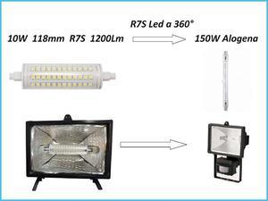 Lampada Led R7S Lineare 118mm 10W per FARETTI UFFICIO