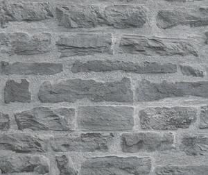 Carta da parati mattoni con pietre grigie usurate
