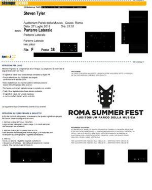 biglietto concerto Steven Tyler a Roma il