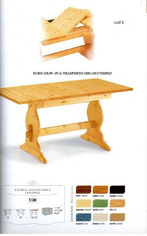 Tavolo allungabile in legno massello i pino naturale