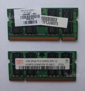 2 banchi di Memoria RAM da 1 GB PCS