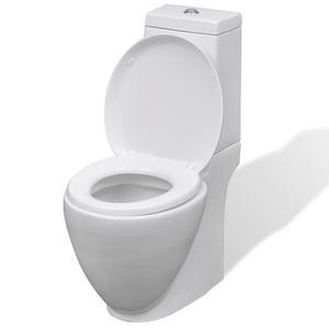 vidaXL Vaso WC in Ceramica da Bagno Rotondo Bianco