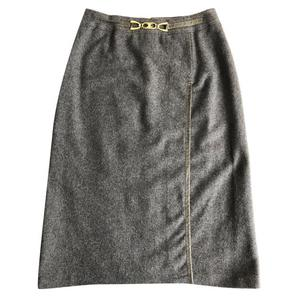 celine grey wool midi skirt