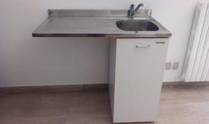 Lavello copri-lavatrice in acciaio inox con miscelatore