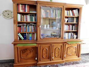 Libreria credenza d'epoca in noce doppio corpo, con 4 ante