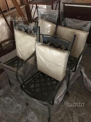 4 sedie in ferro con cuscino