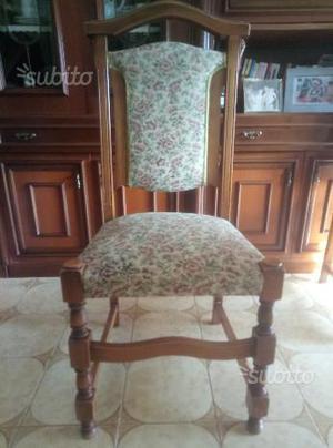 6 sedie in legno con imbottitura fiorata