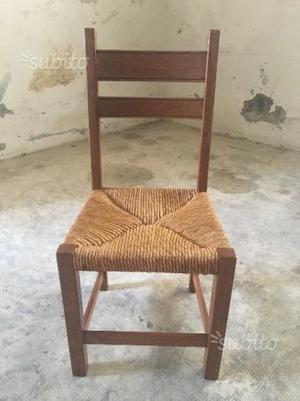 6 sedie in legno con seduta impagliata ben tenute