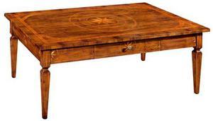 Tavolino da salotto con cassetto intarsiato arte povera cod