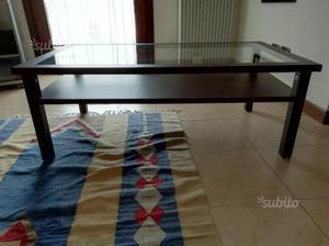 Tavolino in legno wengé con vetro