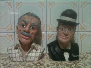 Statuette di toto' e di eduardo a mezzo busto