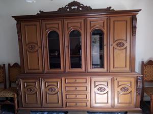 Mobile soggiorno in legno, con vetrina, stile vintage anni