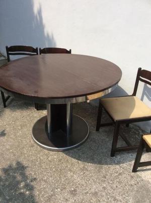Tavolo rotondo allungabile con 5 sedie con seduta imbottita