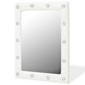 vidaXL Specchio da Parete in Pelle Sintetica 40x50 cm Bianco