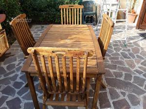Tavolo da giardino in legno con 4 sedie