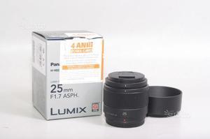 Obiettivo panasonic lumix g 25 mm f/1.7 asph.m 4/3