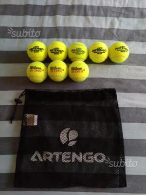 5 palline da tennis Artengo e 3 Wilson