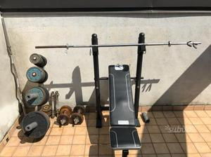 Panca pesi,bilancieri,dischi, attrezzatura da pale
