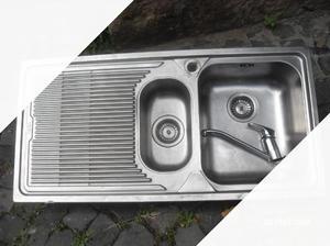 Lavello cucina inox 2 vasche +rubinet miscelatore