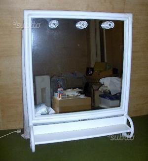 Specchio in giunco rattan color bianco, (nuovo),