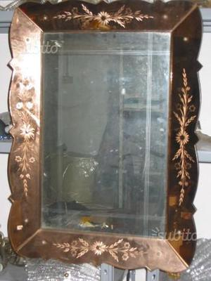 Specchio rosa antico incisioni floreali